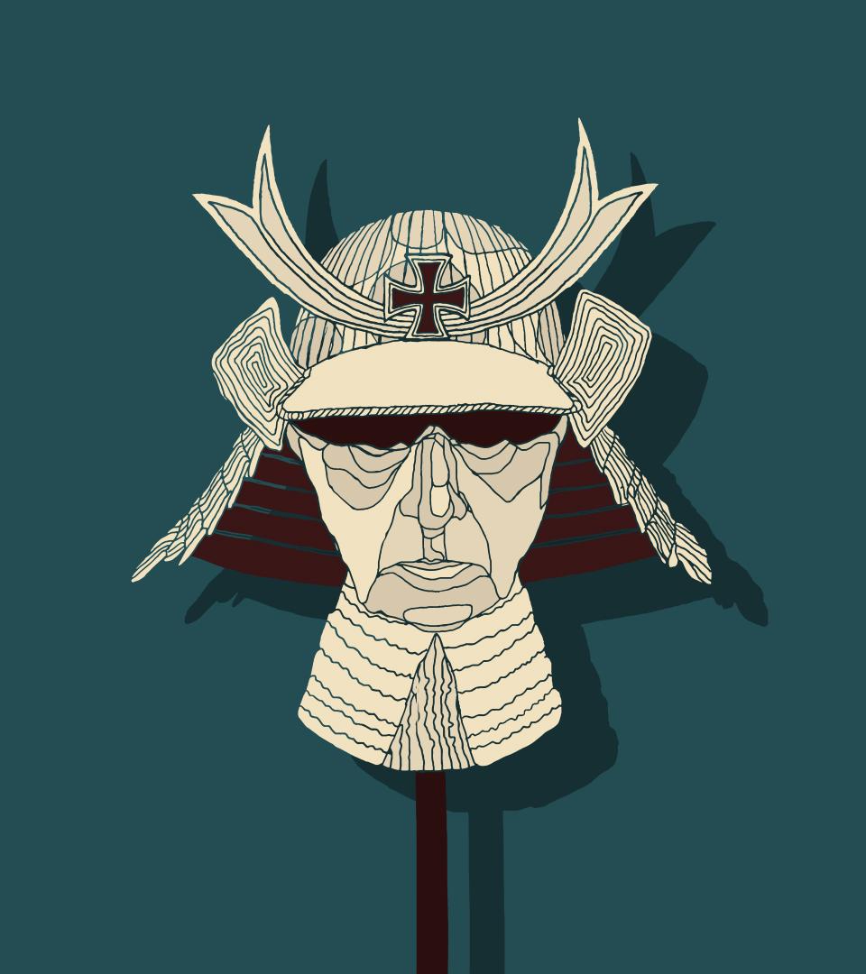 Ilustracja do tekstu Darii Chibner o podobieństwach w życiu i twórczości Ernsta Jungera i Yukio Mishimy. Grafika przedstawia samurajską maskę w kolorze cielistym, z niemieckim krzyżem żelaznym na czole, na turkusowym tle.